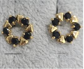 Gold & Black Heart Ear Ring